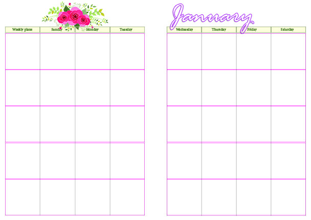 monthly on 2 pages